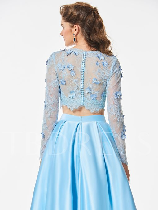 Scoop Long Sleeves Appliques Scoop Button Lace Floor-Length Prom Dress