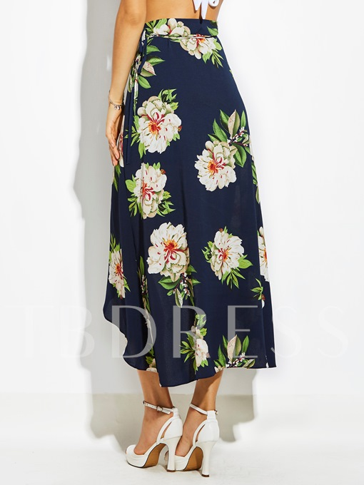High-Waist Flower Print Asymmetrical Women's Vacation Skirt