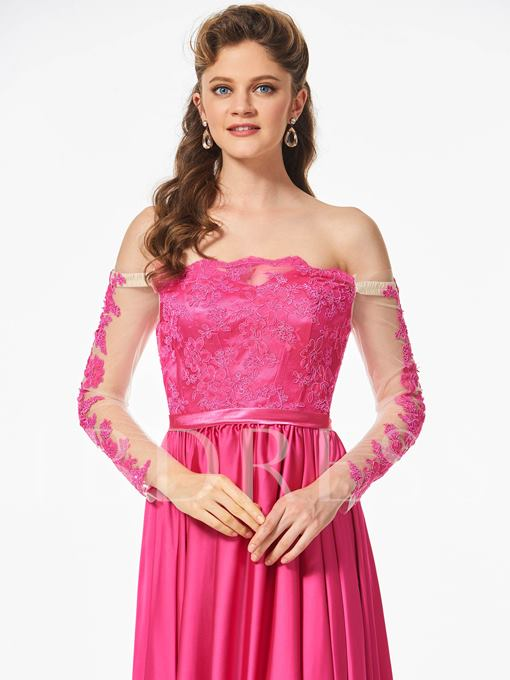 Off-the-Shoulder Appliques Button A-Line Sashes Prom Dress