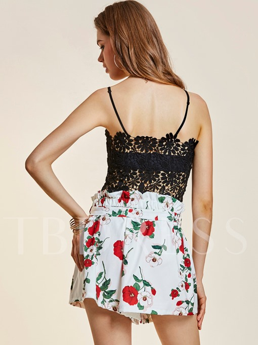 Lace Hollow Flower Print Backless Women's Two Piece Set