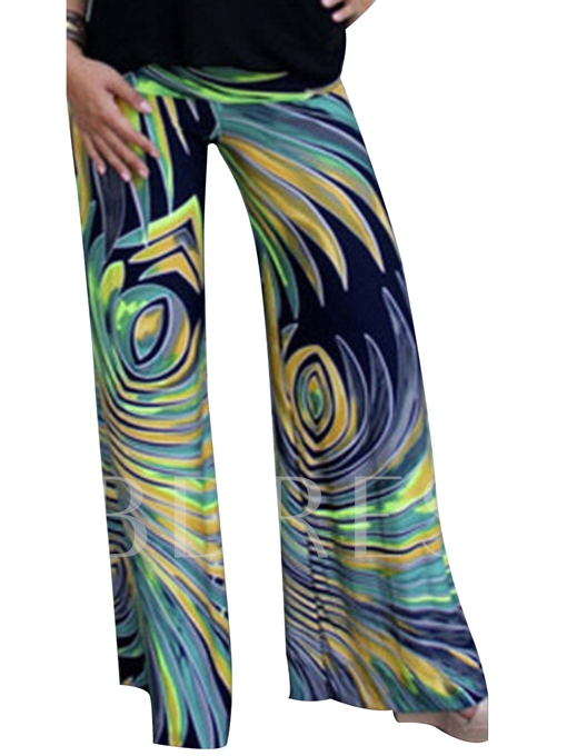 Feather Printing Loose Wide Legs Women's Pants