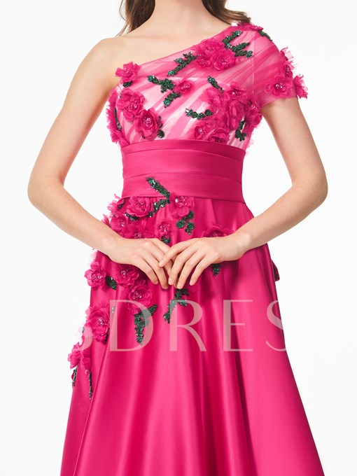 One-Shoulder A-Line Short Sleeves Beading Bowknot Court Train Prom Dress