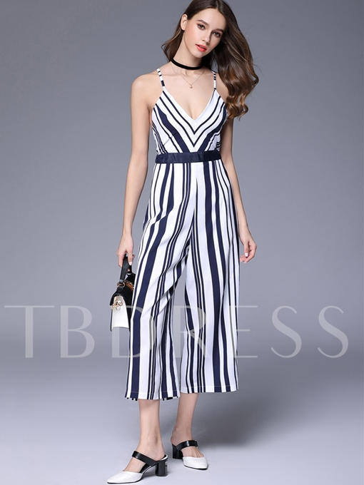 Slim Backless Stripe Print V-Neck Women's Jumpsuits