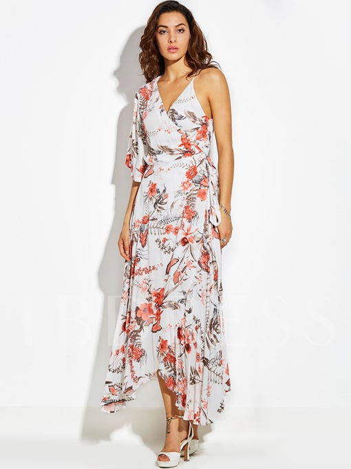 One-Shoulder Asymmetric Vacation Half Sleeve Women's Maxi Dress