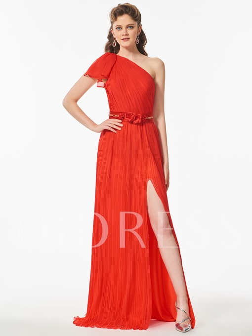 One-Shoulder Beaded Split-Front A-Line Short Sleeves Prom Dress