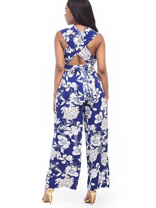 Pleated Hollow Floral Print Women's Jumpsuits