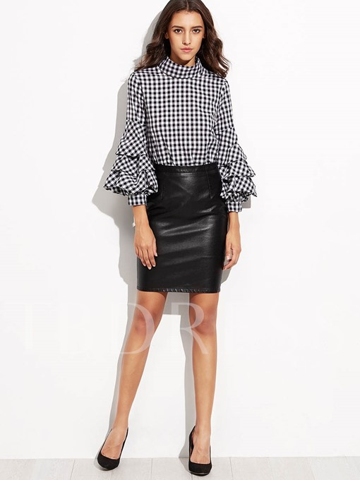 Gingham Stand Collar Heap Sleeve Women's Blouse