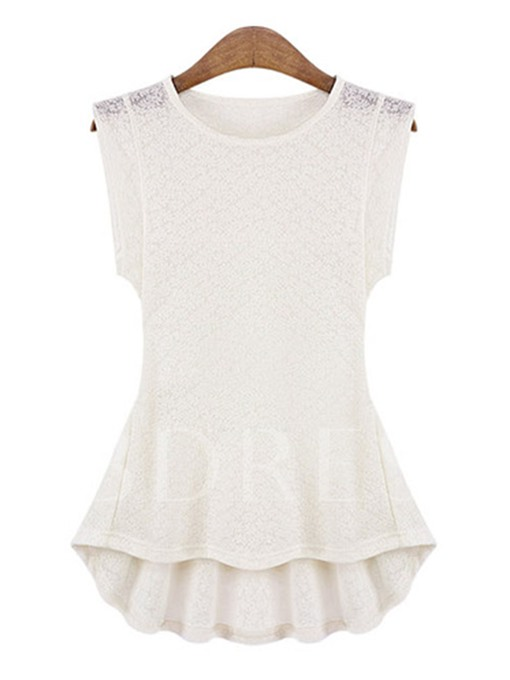 Tunic Plain Lace Sleeveless Women's Blouse