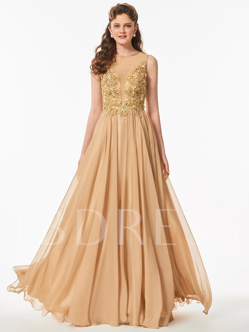 Scoop Appliques A-Line Beading Button Floor-Length Prom Dress