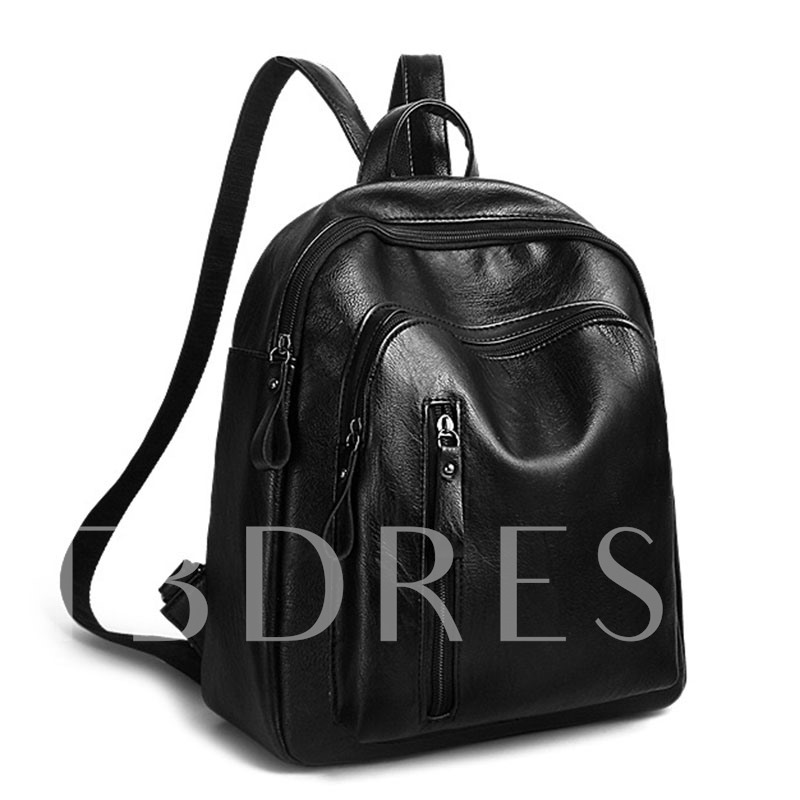 Solid Color Multi Zippers Women's Backpack