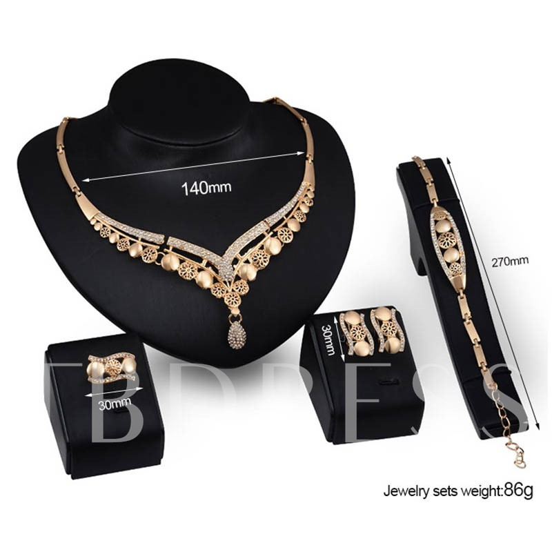 Alloy Diamante Floral Jewelry Sets