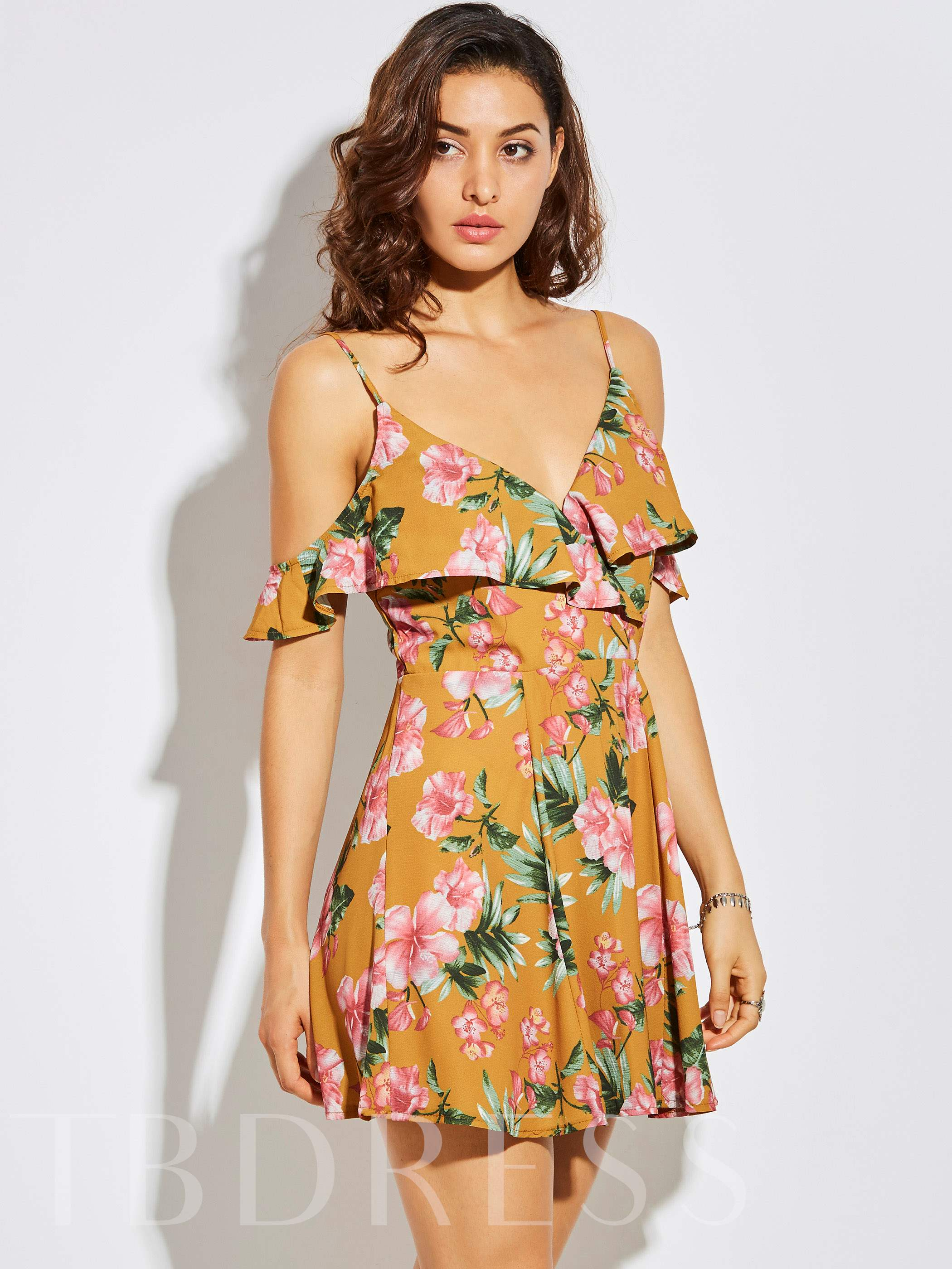 Buy Spaghetti Strap Backless Vacation Flower Print Women's A-Line Dress, Vintacy, Summer, 12876677 for $22.99 in TBDress store
