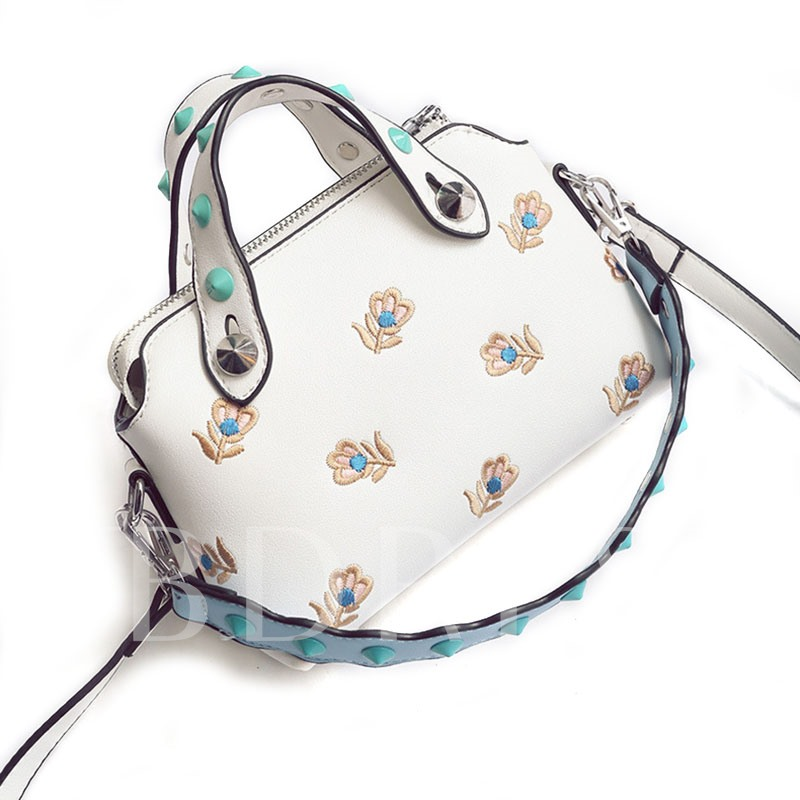 Chic Floral Embroidery Rivets Belt Tote Bag