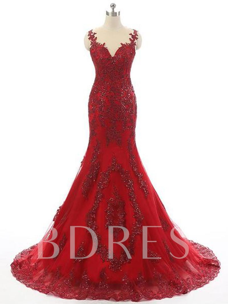 Trumpet Appliques Jewel Beading Court Train Evening Dress