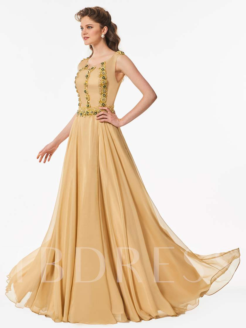 A-Line Beaded Button Scoop Floor-Length Prom Dress