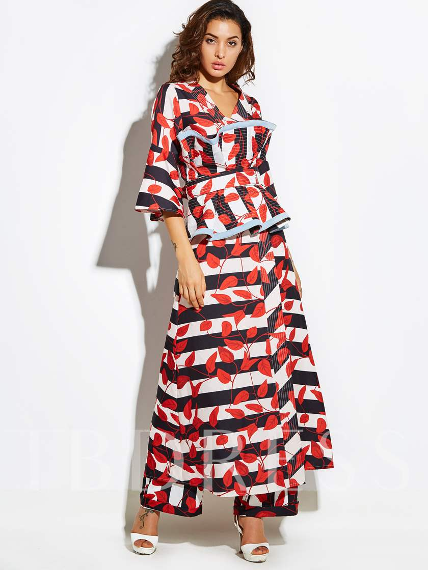 Long Stripe Leaves Pattern Women's Vacation Trench Coat