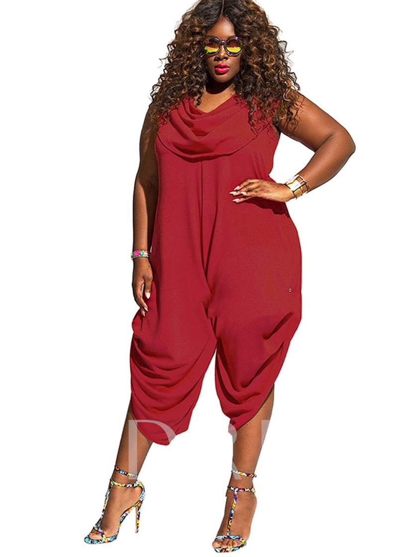 Plain Mid-Calf Plus Size Women's Jumpsuit