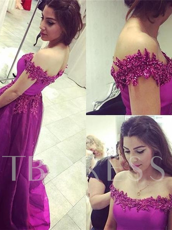 Appliques Off-the-Shoulder A-Line Beading Sleeveless Brush Train Evening Dress