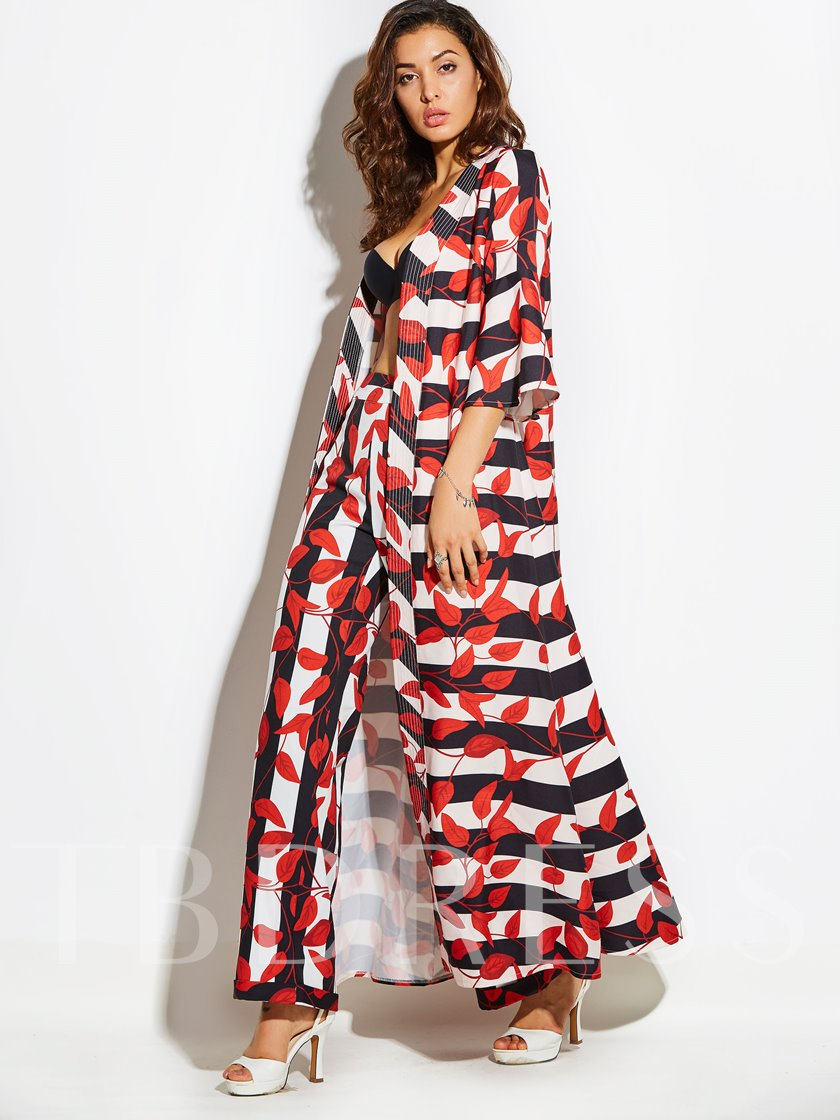 Plant Printing Full Length Loose Women's Vacation Pants