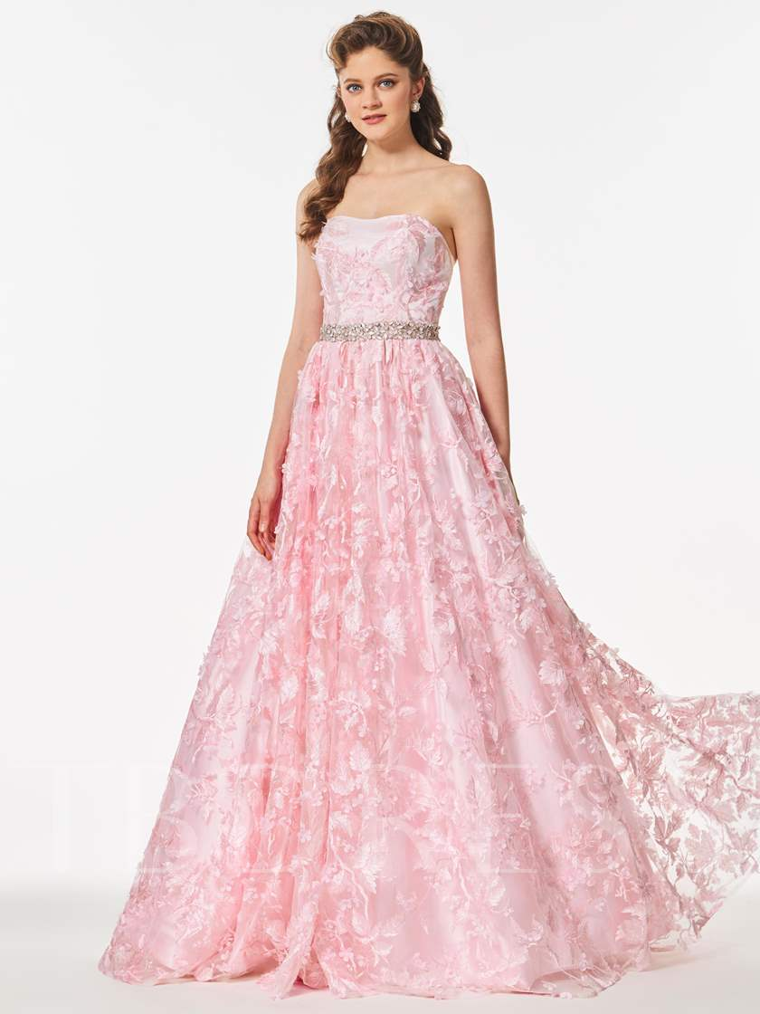 Strapless A-Line Beading Lace Pearl Pink Prom Dress