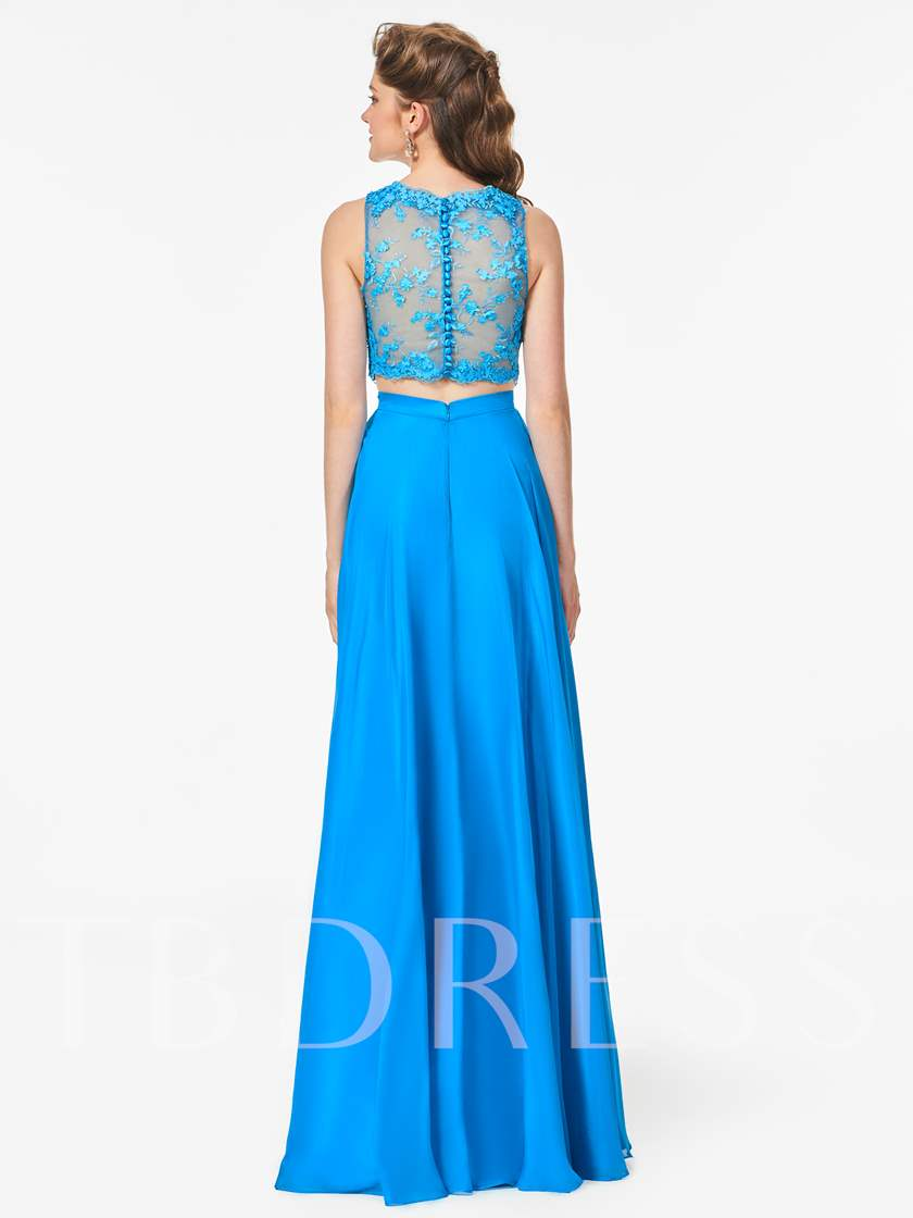 Two Pieces A-Line Button Lace Scoop Floor-Length Prom Dress
