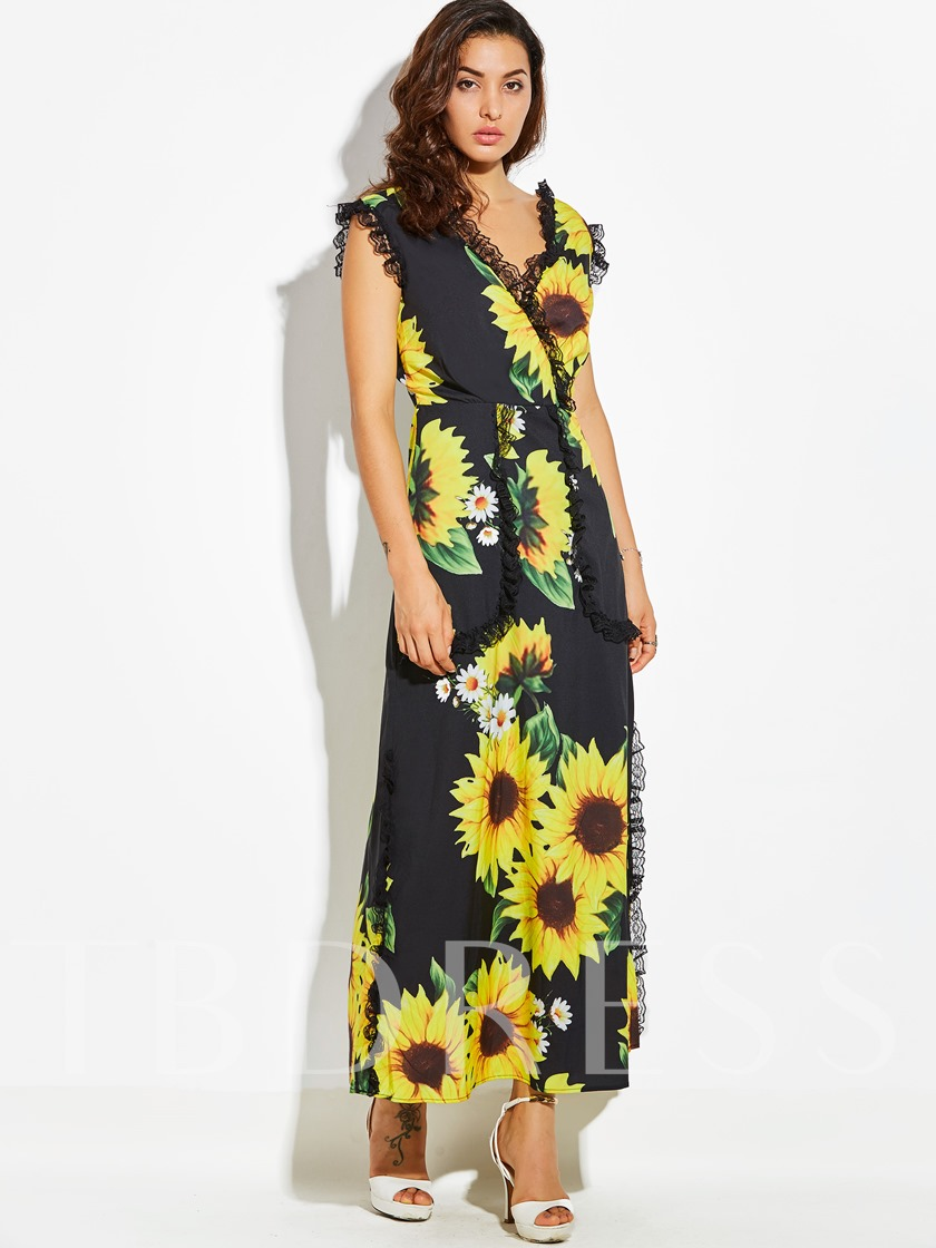 Pleated Patchwork Sunflower Print Vacation Women's Maxi Dress