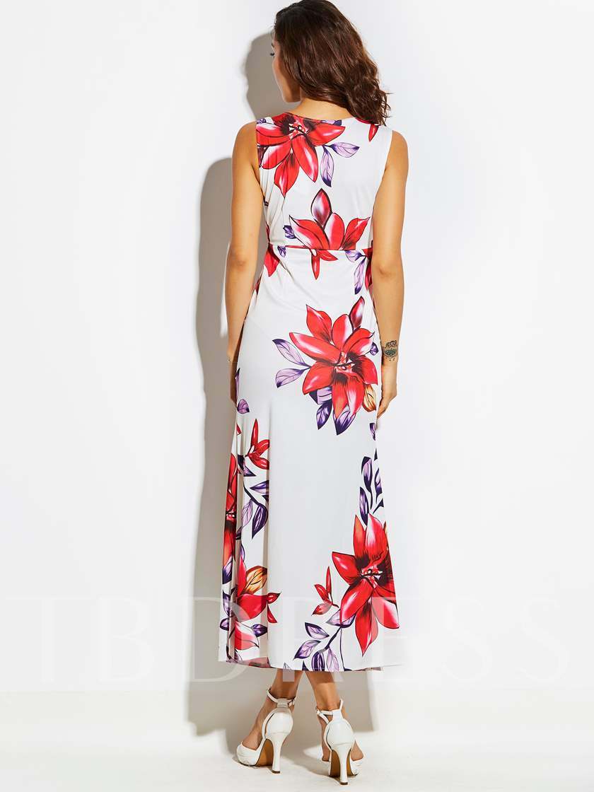 Zipper V-Neck Floral Bohemian Women's Maxi Dress