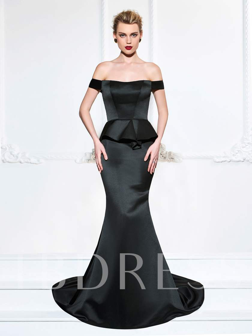 Off-the-Shoulder Ruffles Mermaid Evening Dress