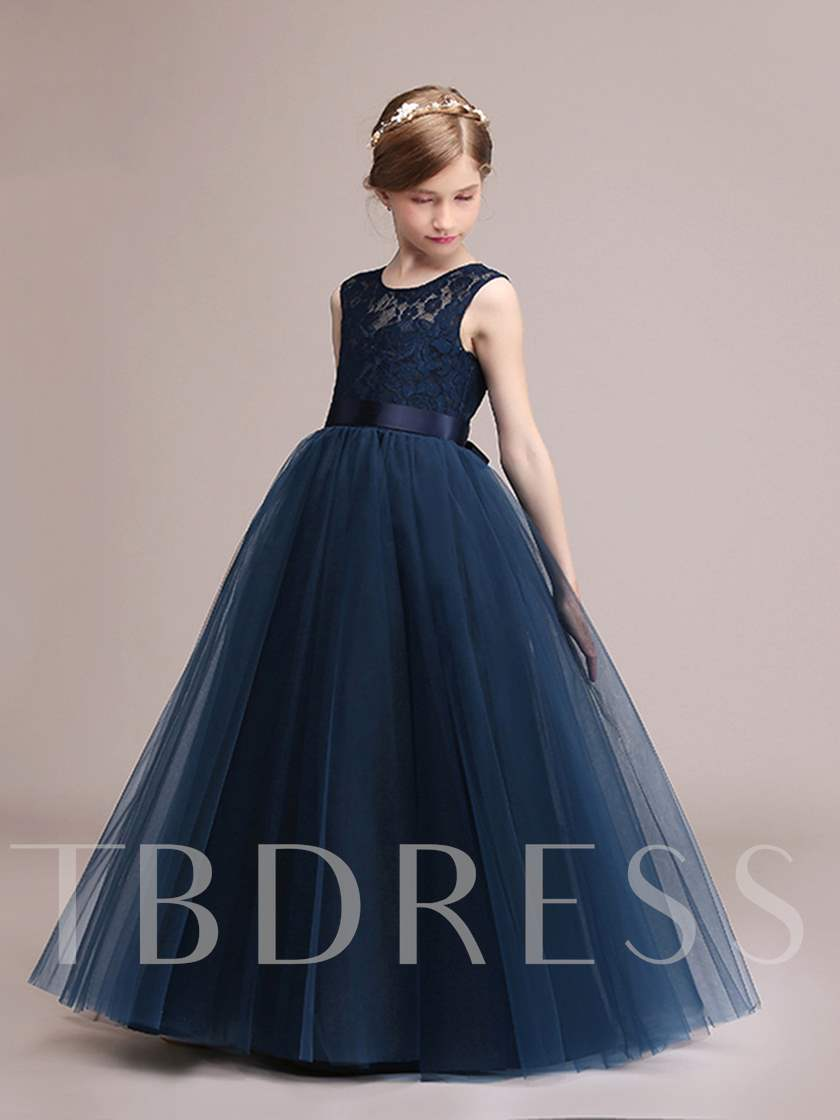 Scoop Neck Sashes Lace Girls Party Dress