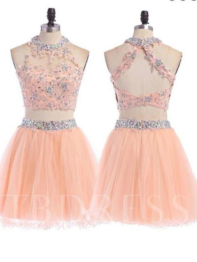 Halter A-Line Appliques Beading Short Sleeves Homecoming Dress