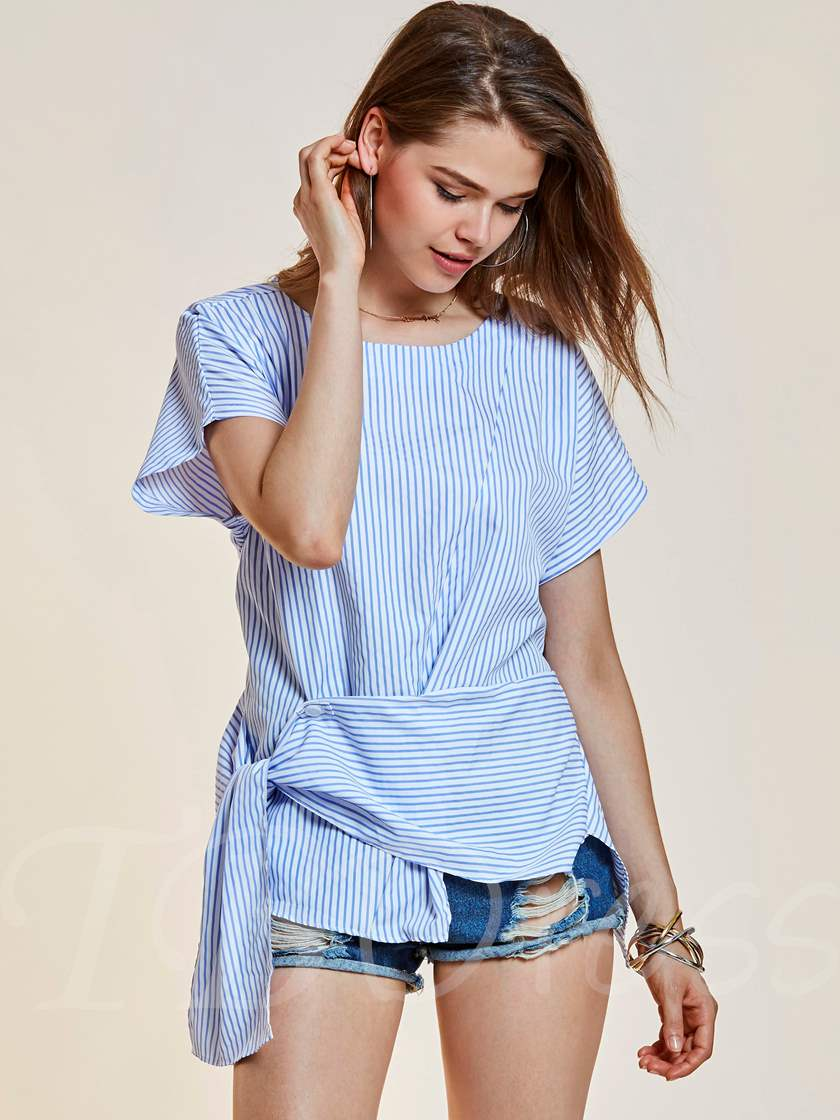 Asymmetric Stripe Round Neck Women's Blouse