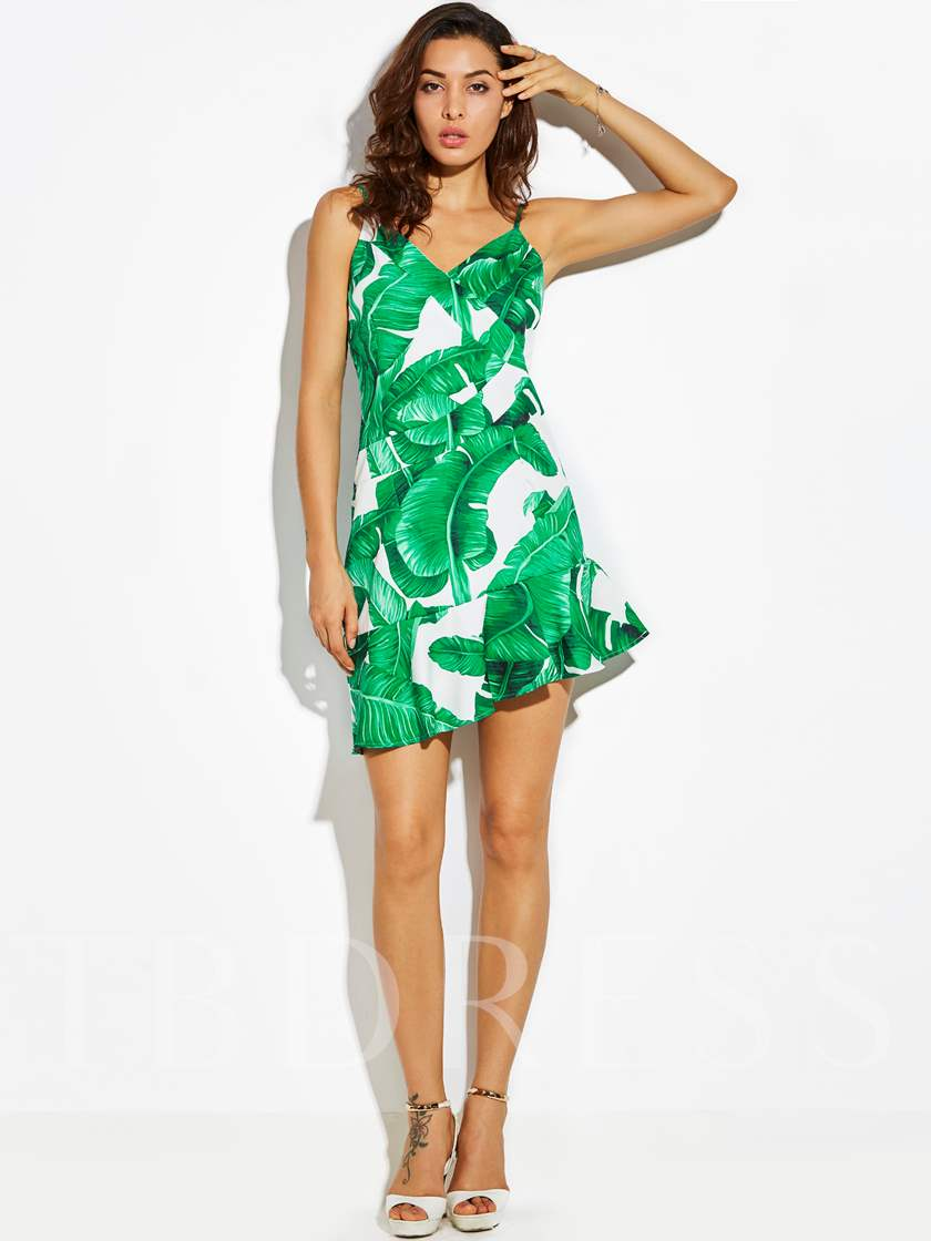 Vacation Plant Print Backless Falbala Patchwork Women's Day Dress