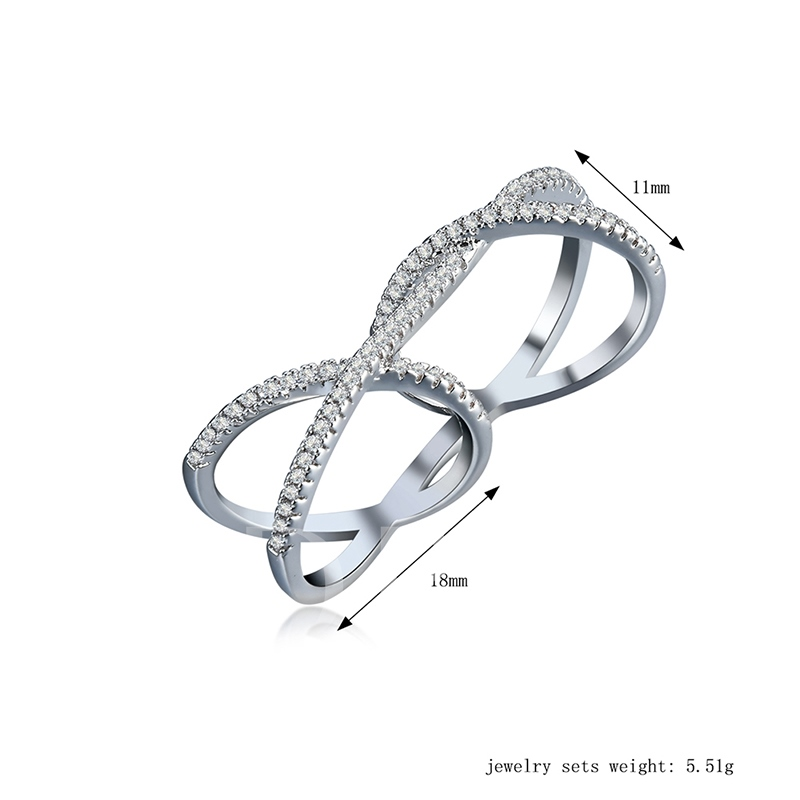 Diamante Cross Double Conjoined Ring