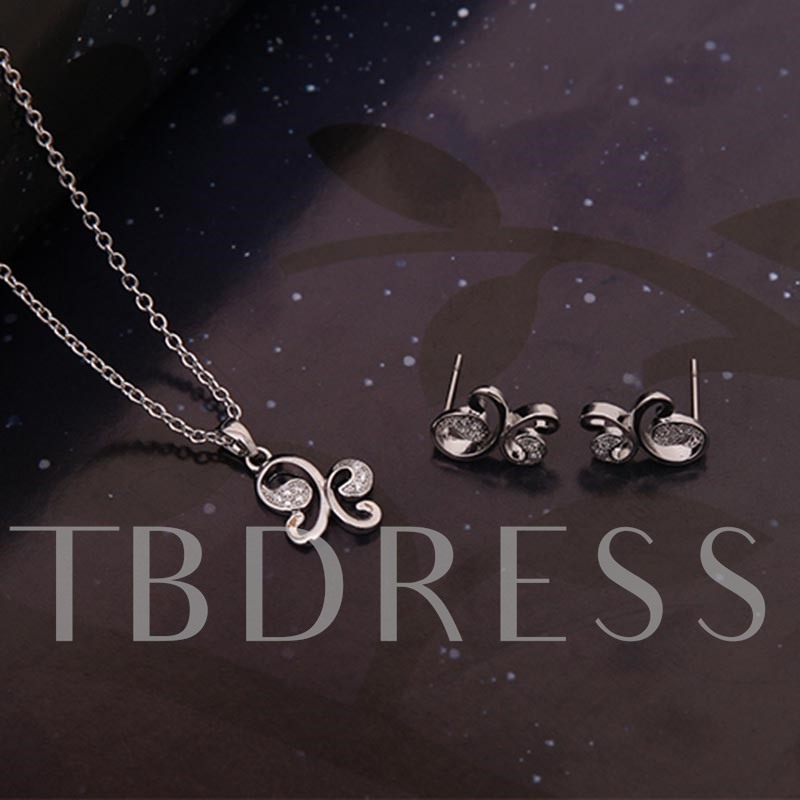 Butterfly Shaped Alloy Diamante Link Chain Jewelry Sets