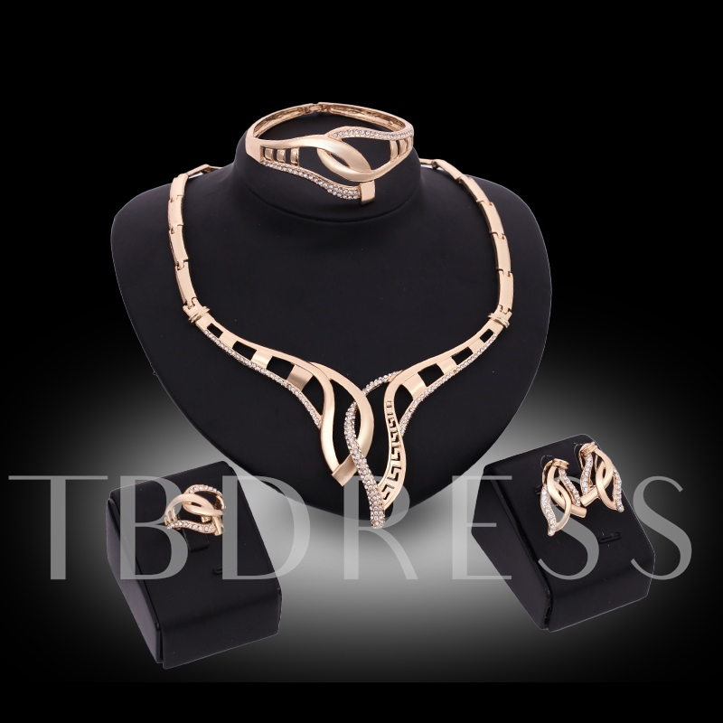 Wide Link Chain Diamante Alloy Geometric Jewelry Sets