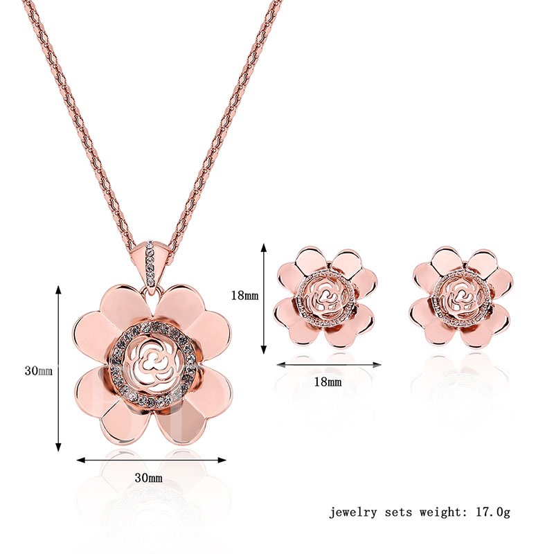 Pink Flower Diamante Alloy Two Piece Jewelry Sets