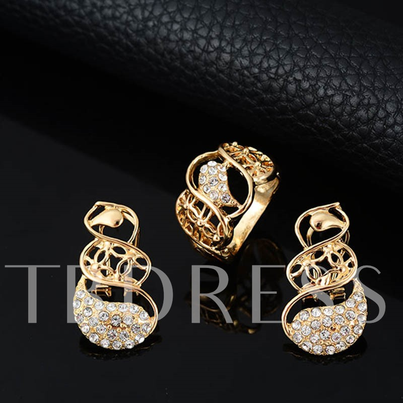 Alloy Hollow Out Diamante Four Piece Jewelry Sets