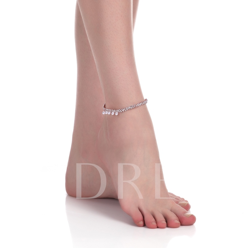 Pearl Inlaid Diamante Link Chain Alloy Anklet