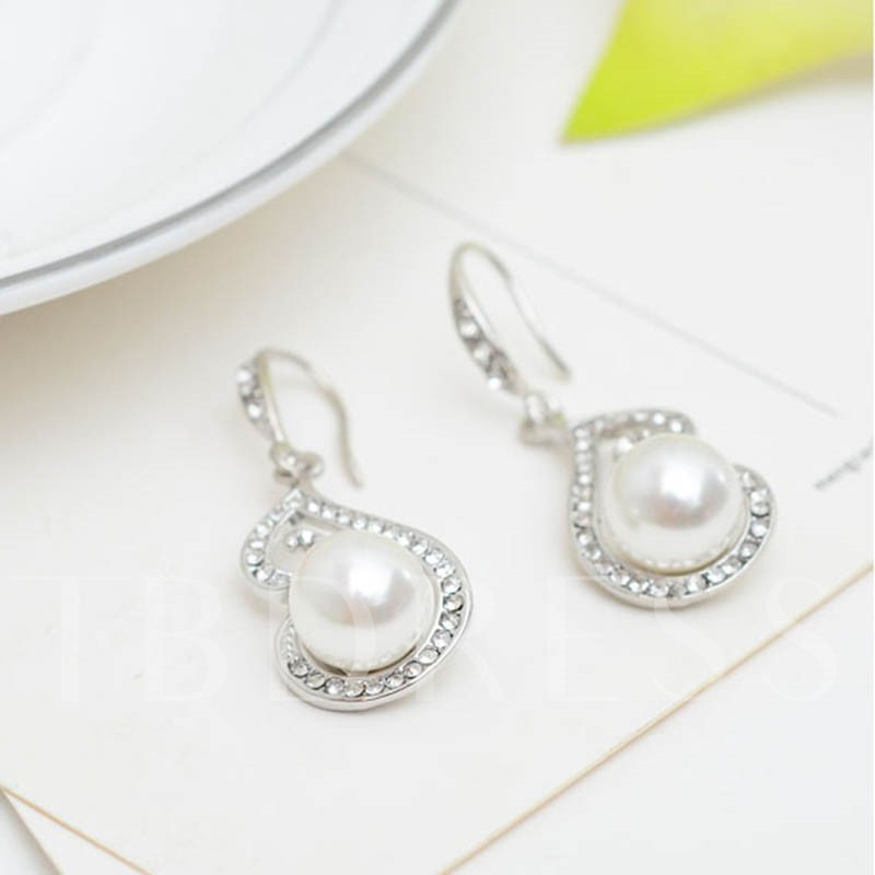 Pearl Inlaid Diamante Link Chain Alloy Jewelry Sets
