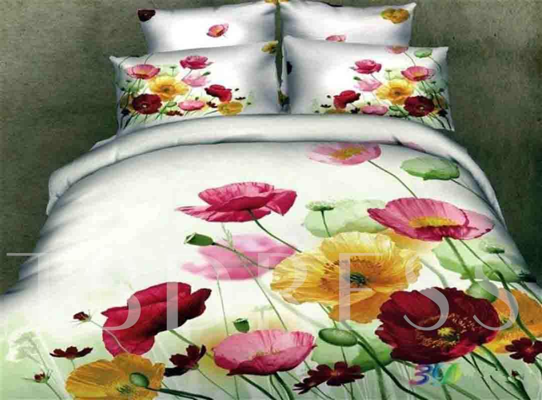 3D Colorful Pansy Printed Cotton 4-Piece Bedding Sets/Duvet Cover