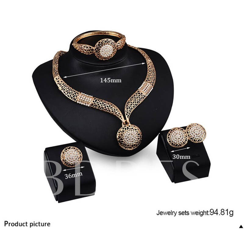 Hollow Out Diamante Alloy Jewelry Sets