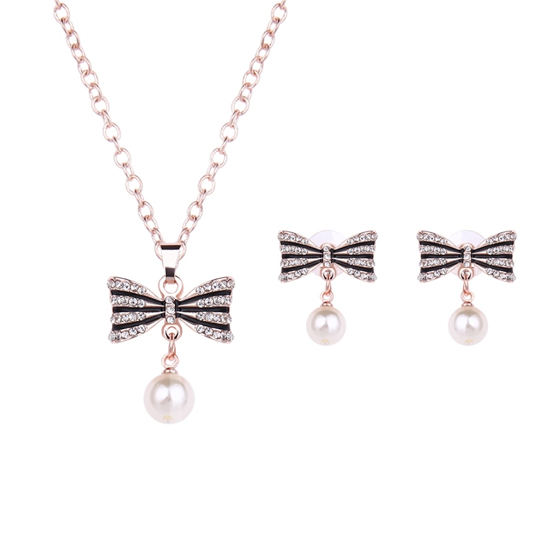 Bowknot Pearl Alloy Diamante Two Piece Jewelry Sets