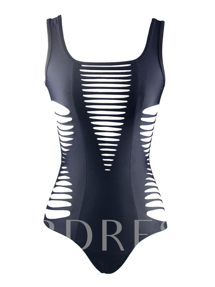 Plain Absorbing Hollow One Piece Swimsuit