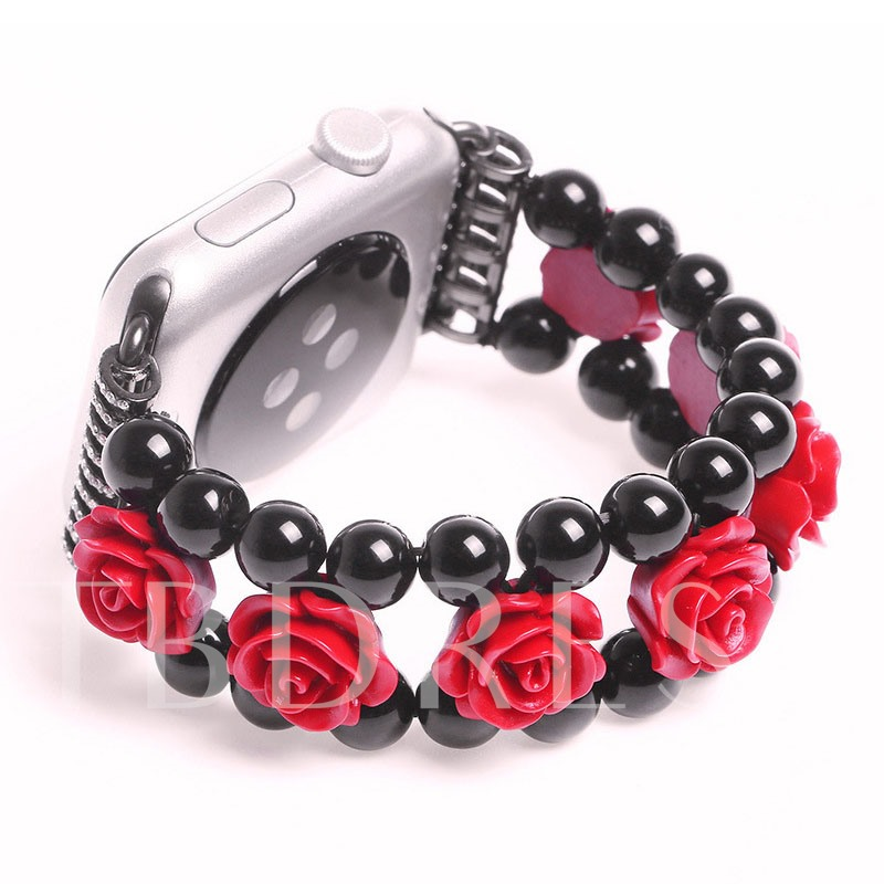 Red Rose Shape Jewelry & Black Agate Smart Watch Band Apply to 38mm/42mm Apple Watch Series 1/2 for Women