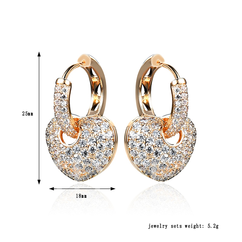 Shiny Heart Diamante Alloy Earrings