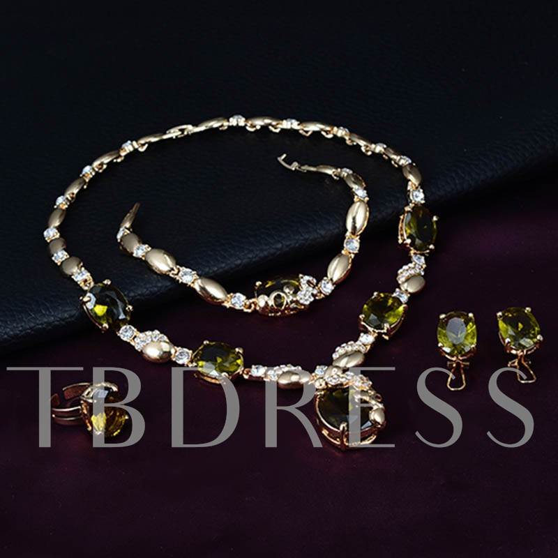 Emerald Zircon Inlaid Diamante Jewelry Sets