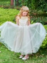 Scoop Neck Beading Ankle-Length Flower Girl Dress