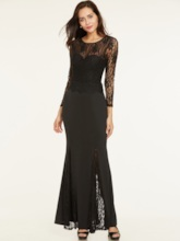 Scoop Neck Backless Lace Evening Dress