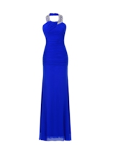 Beading Halter Ruched Column Evening Dress