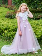 Cap Sleeves A-Line Sweep Train Flower Girl Dress
